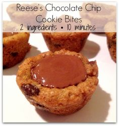 Reese's Chocolate Chip Cookie Bites - 2 ingredients and only 10 minutes start to finish!