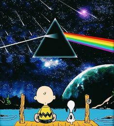Charlie Brown and Snoopy enjoying Pink Floyd. Pink Floyd Dark Side, Snoopy Love, Snoopy And Woodstock, Arte Pink Floyd, 3d Fantasy, Charlie Brown And Snoopy, Wow Art, Peanuts Gang, Peanuts Cartoon