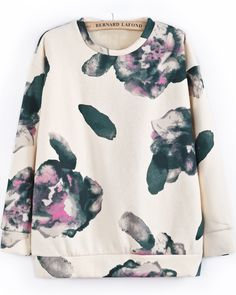 Apricot Long Sleeve Ink Floral Sweatshirt