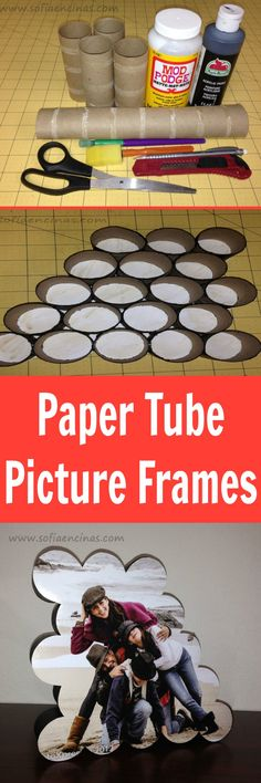Use paper tubes to make pictures frames ~ another great recycling idea and the results are so cute!