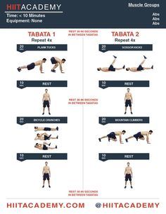 Finish this tabata HIIT workout in under 10 minutes from HIIT Academy! Hiit Training Workouts, Hiit Workouts For Men, Cardio Abs, Ab Workout Men, Workout Exercises, Hit Cardio, Extreme Workouts, Hamstring Exercises, Circuit Workouts