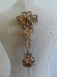 """Antique Victorian Chatelaine Wax Seal Fob """"B"""" Long Dangle Goldtone Pin Brooch 