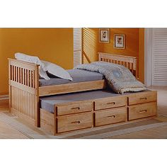 Amani Single Captain Bed with Guest Bed and Drawers - Waxed Pine