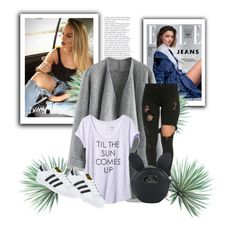 """White-black combination"" by jenkey-cool-fashion ❤ liked on Polyvore featuring Kerr®, Chicwish, Banana Republic, Disney, adidas and Agave"