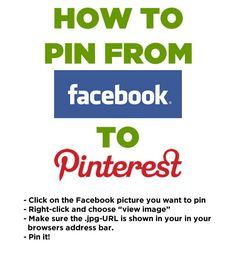 How to pin from Facebook to Pinterest.  This works on Firefox but you may have difficulty with other browsers (especially Chrome).
