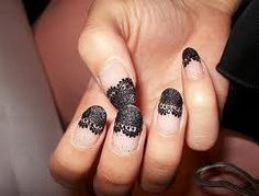 lacy nails. Not sure how I feel about it in black, but it would be gorgeous in white over a dark color or even over nude. Hmm.
