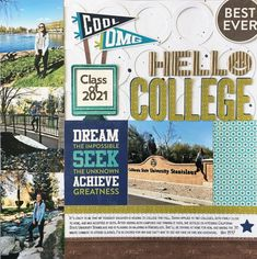 Layouts Featuring 2 Cool For School Jillibean Soup: Hello College Layout by Laura Vegas featuring 2 Cool For School collection.Jillibean Soup: Hello College Layout by Laura Vegas featuring 2 Cool For School collection. Senior Scrapbook Ideas, Graduation Scrapbook, School Scrapbook Layouts, Scrapbook Layout Sketches, Baby Scrapbook, Scrapbook Albums, Scrapbooking Layouts, Scrapbook Cards, Graduation Gifts
