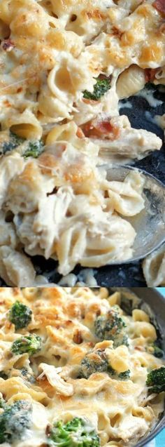 This Chicken and Broccoli Pasta Skillet from 5 Boys Baker is a creamy and cheesy comfort food meal perfect for any weeknight dinner. The bacon, broccoli, chicken, and cheese come together perfectly to make a delicious dinner even the pickiest of eaters wi I Love Food, Good Food, Yummy Food, Tasty, One Pot Meals, Easy Meals, Chicken Broccoli Pasta, Skillet Chicken, Skillet Food