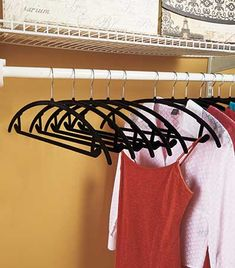 Save space in your closet with this 25-Pk. Multi-Use Nonslip Hangers. These ultra-thin hangers feature velvet flocking that helps keep your clothes in place and off the floor. Each hanger has side hooks for skirts or camisoles and a lower bar to hang pan