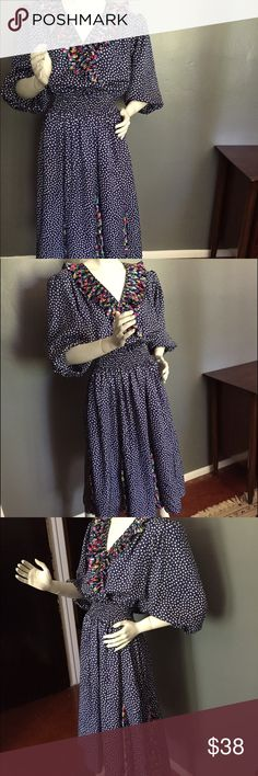 """Vintage Susan Frair Dress Vintage Susan Frair Dress. Multi-Color, Polka dots /floral , Accordion Pleated, Ruffle V-Neck.  Made in USA.  Extra large. 100% polyester. Length 51"""", waist 26"""" resting but stretches to 41"""". Bust 42"""". Vintage Dresses"""