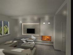 Render camini moderni (83) Modern Fireplace, Home Interior Design, Sweet Home, New Homes, Lounge, Living Room, House Styles, Furniture, Star Tv