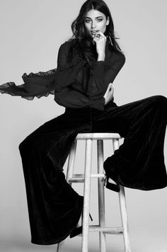 perfect holiday outfit * sumptuous Velvet exaggerated flared~bell bottoms w/ gorgeous black sheer silk ruffled blouse * * * fashion mag. Sept. 2015