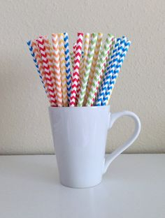 Paper Straws - Red, Orange, Yellow, Green, and Blue Rainbow Chevron Party Straws (25) and DIY Printable Drink Flags / Birthday / Baby Shower