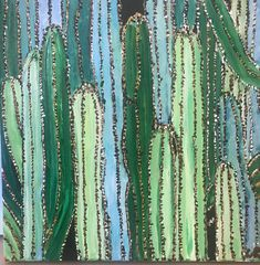 Cactus garden original acrylic painting by abstractsbycarrie on Etsy Love Painting, Cactus Plants, Color Inspiration, Abstract Art, The Originals, Garden, Etsy, Garten, Cacti