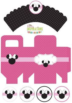 Free Minnie Mouse Party Printables - cupcake wrappers, favor boxes, cupcake toppers, stickers (Free printables) #party #minnie mouse #free