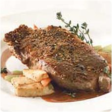 Wolfgang Puck's New York Steak with Madagascar Pepper & Port Wine