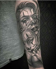 Clown girl by @niceguychris #mexicanstyle_tattoos #mexstyletats #mexicanculture #ink #tattoos #blackandgrey #clowngirl