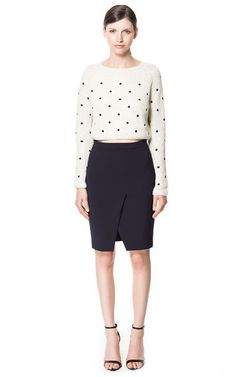 navy blue pencil skirt with front slit + adorable polka dot knit sweater #zara