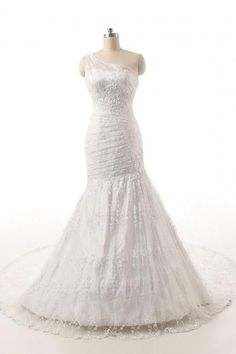 One Shoulder Long Lace Mermaid Wedding Dress,Full Lace Mermaid One Shoulder Long Bridal Dress (1)