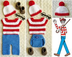 Handmade Waldo-Inspired baby crochet outfit/costume Photo Prop. Hat, shirt, pants/diaper cover, booties.