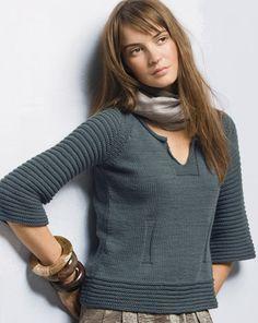 Серый пуловер Phildar (free rus. pattern)