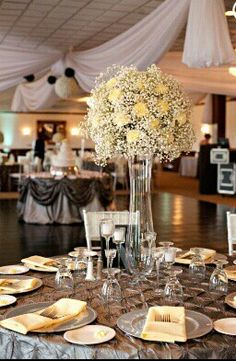 Light yellow and gray wedding reception