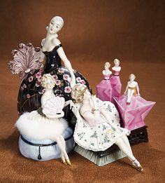 The Vanity Fair - Strong Museum Half Dolls: 259 French Art Deco Porcelain Dresser Box in the Shape of a Lady with Fan by Aladin