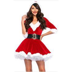 New Arrival Christmas Dress Women Christmas Costume For Adult 2017 Red Velvet Fur Dresses Hooded Sexy Female Santa Claus Costume