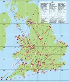 A map of Englands Ley Lines and a key of sacred sites that they pass through