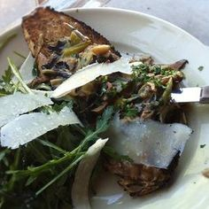 Wild mushroom and leek toast with grana - Boot and Shoe Service, Oakland