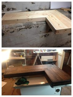 Rustic dining room table - 23 DIY Corner Desk Ideas To Maximize Your Space Home Office Furniture, Diy Furniture, Wood Bar Top, Diy Desk, Corner Desk Diy, Large Corner Desk, Floating Corner Desk, Diy Wood Desk, Corner Workstation