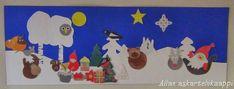 Askartelukaappi: Joulusatu Joulu Metsänväelle -joulukalenteri Happy Holidays, Christmas Crafts, Flag, Kids Rugs, Children, Decor, Education, Young Children, Happy Holi