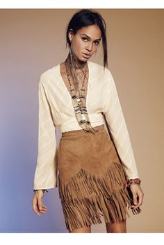 Same Old Love Fringe Skirt | Free People Vintage-inspired luxe suede skirt featuring a tiered fringe hem.