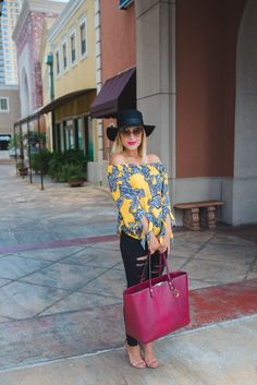 OFF THE SHOULDER TIE SLEEVE BLOUSE | Fall Inspiration | Women's Street look | Uptown with Elly Brown