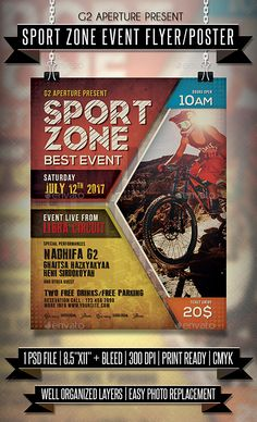 Sport Zone #Event #Flyer / Poster - Events Flyers Download here: https://graphicriver.net/item/sport-zone-event-flyer-poster/20031522?ref=alena994