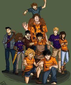 Group photo! Awesome! Percy, Annabeth, Jason, Piper, Frank, Hazel, Leo, Nico, Tyson, and Grover!
