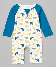 Look what I found on #zulily! Teal Safari Organic Playsuit - Infant #zulilyfinds
