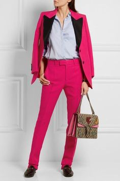 Fuchsia wool and silk-blend crepe, black faille Button fastenings through front 51% wool, 49% silk; trim: 100% silk; lining: 71% acetate, 29% silk Dry clean Designer color: Lipstick  Made in Italy