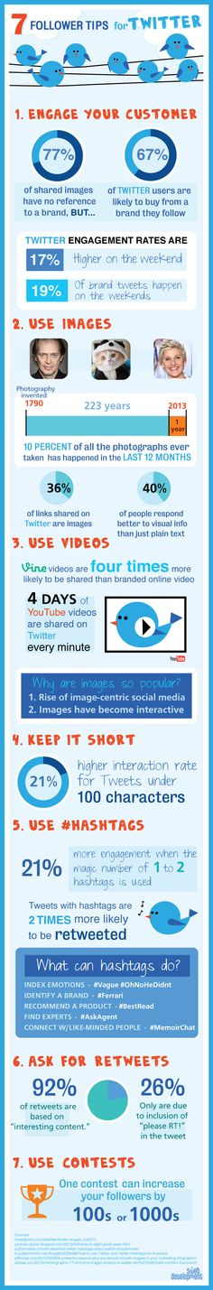 7 Tips To Get More Followers On #Twitter | #Vine vids are 4X's more likely to be shared than branded online video | #Infographic