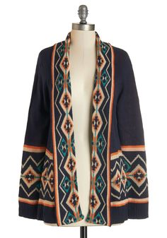 Somebody That I Houston Know Cardigan. A visit with old friends is sure to include an outdoor concert, so you slip this Southwestern-inspired print cardigan into your suitcase before boarding your Texas-bound flight! #blue #modcloth