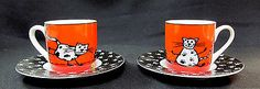 Pair of Konitz Red & Black Espresso Demitasse Cup & Saucer Кружки и чашки