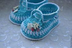 """Купить Туфельки """" Морячок """" - голубой, в полоску, пинетки, пинетки для новорожденных, пинетки в подарок"""