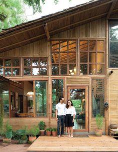 A Bamboo House Embraced by Nature House Design Bamboo House Design, Tropical House Design, Tiny House Design, Modern House Design, Tropical Houses, Thai House, House Bali, Gym House, Duplex House