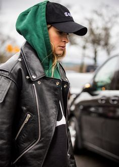 ♥️ Pinterest: DEBORAHPRAHA ♥️ Best Paris Fashion Week Street Style Fall 17 - Miroslava duma wearing a leather jacket and a cap