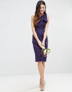 Структурированное платье на одно плечо с бантом ASOS WEDDING