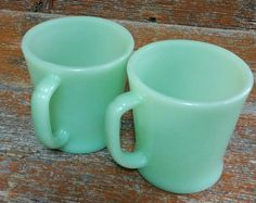 Vintage Fire King Jadeite Coffee Mugs, Fire King Oven Ware, Fire King D Handle Mug, Green Jadeite Mugs by EmptyNestVintage on Etsy