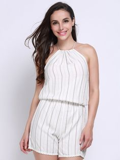 Description:     Neckline:  Halter neck   Sleeve Length: Sleeveless   Pattern:Strioe   Style:Casual   Length: Short   Material:Polyester      Package included:  1*   Jumpsuits