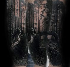 Ram In Forest Trees Mens Realistic Forearm Tattoos