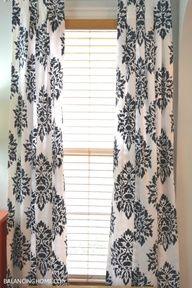 DIY home decor project! Stencil damask patterned curtains! http://www.cuttingedgestencils.com/damask-moroccan-stencil.html #stencils #CuttingEdgeStencils #DIYpaintedcurtains