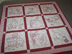 Baby Quilt Hand Embroidered Animals in Red and by HomespunbyHeli, $180.00